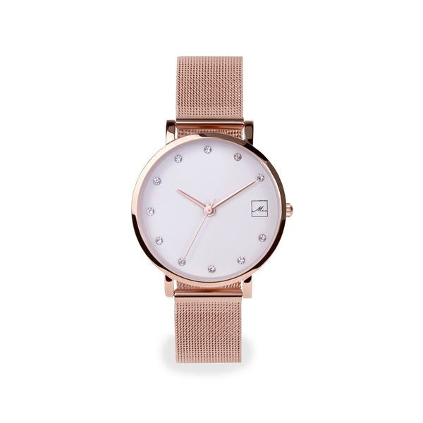 rose gold small and minimal watch with stones stainless steel W119M02DORO MIA Jewelry