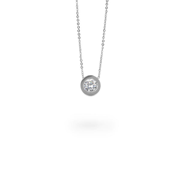 silver round stone pendant necklace hypoallergenic