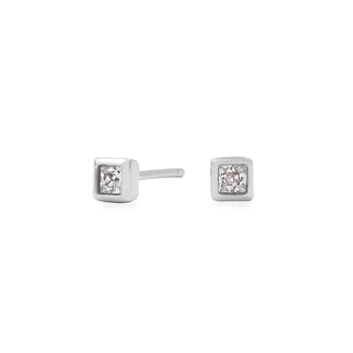 stainless steel 4mm square stone stud earrings hypoallergenic MIAJWL T119E005AR