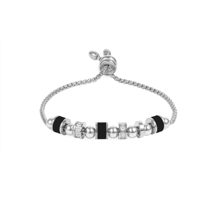 stainless steel adjustable beads bracelet ajustable billes acier inoxydable MIA T319B002