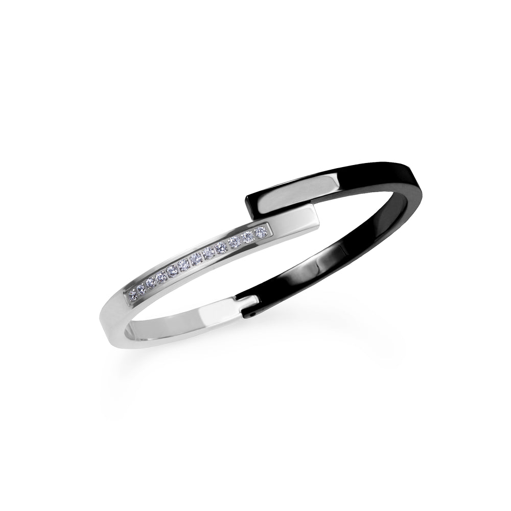 black silver bangle bracelet with stones stainless steel