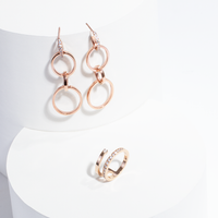 4-in-1 rose gold convertible hoop earrings stainless steel boucles d'oreilles anneaux acier inoxydable MIA T419E005DORO