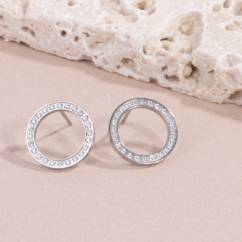 stainless steel circle earrings with stones hypoallergenic T119E008AR MIAJWL