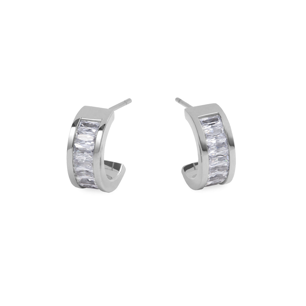 stainless steel hoop earrings with stones