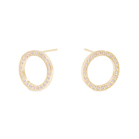stainless steel circle earrings with stones hypoallergenic T119E008DO MIAJWL