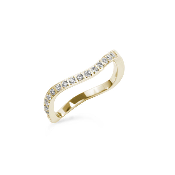 gold stainless steel thin ring wave stones T119R002DO MIA JEWELLERY