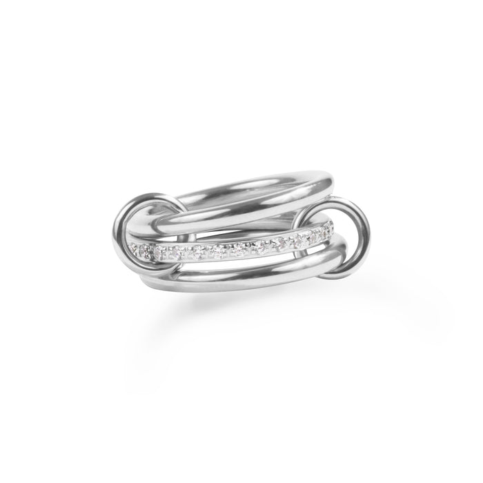 stainless steel ring with hoops and stones T119R001AR MIA JEWELLERY