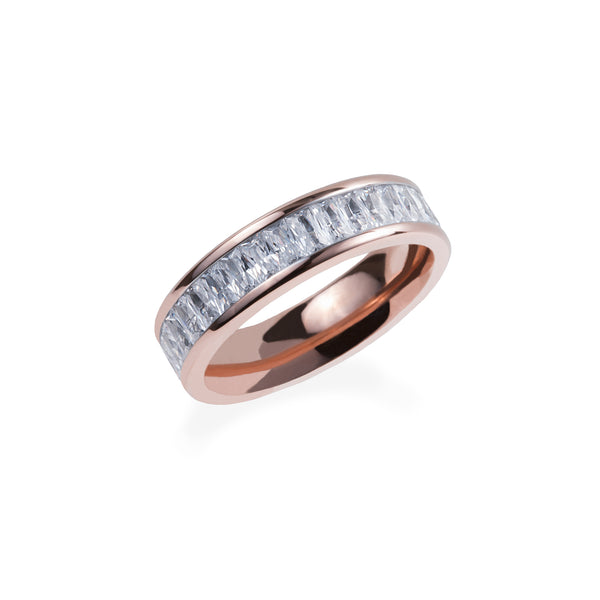 rose gold eternity ring with rectangle stones