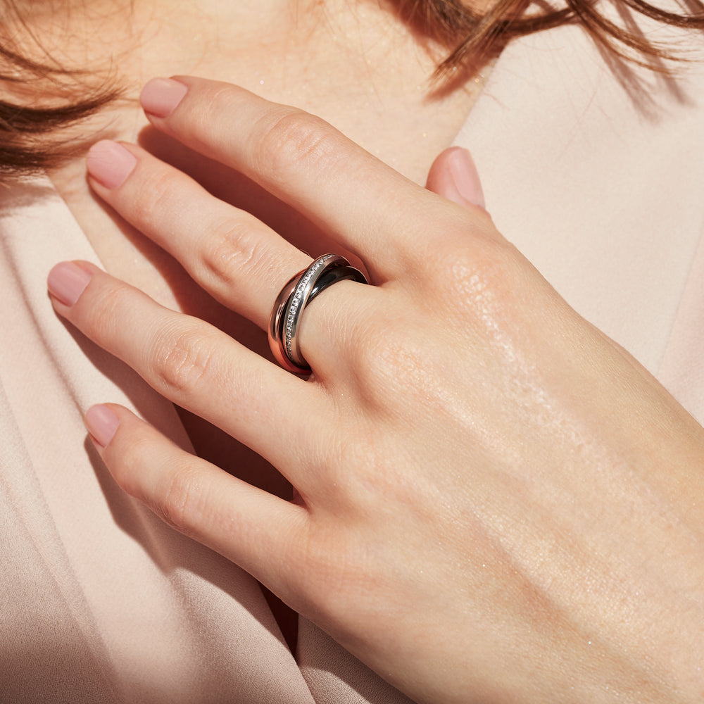 trinity ring stainless steel gold and black