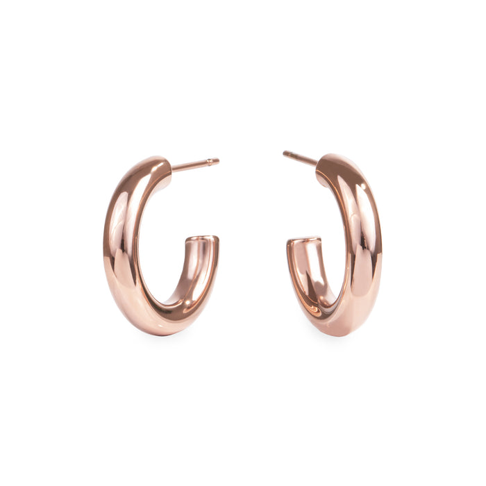 20mm rose gold stainless steel plain hoop earrings boucles oreilles anneaux acier inoxydable or rose MIA T319E001