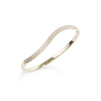 gold stainless steel wave bracelet stones T119B001DO MIA Jewelry