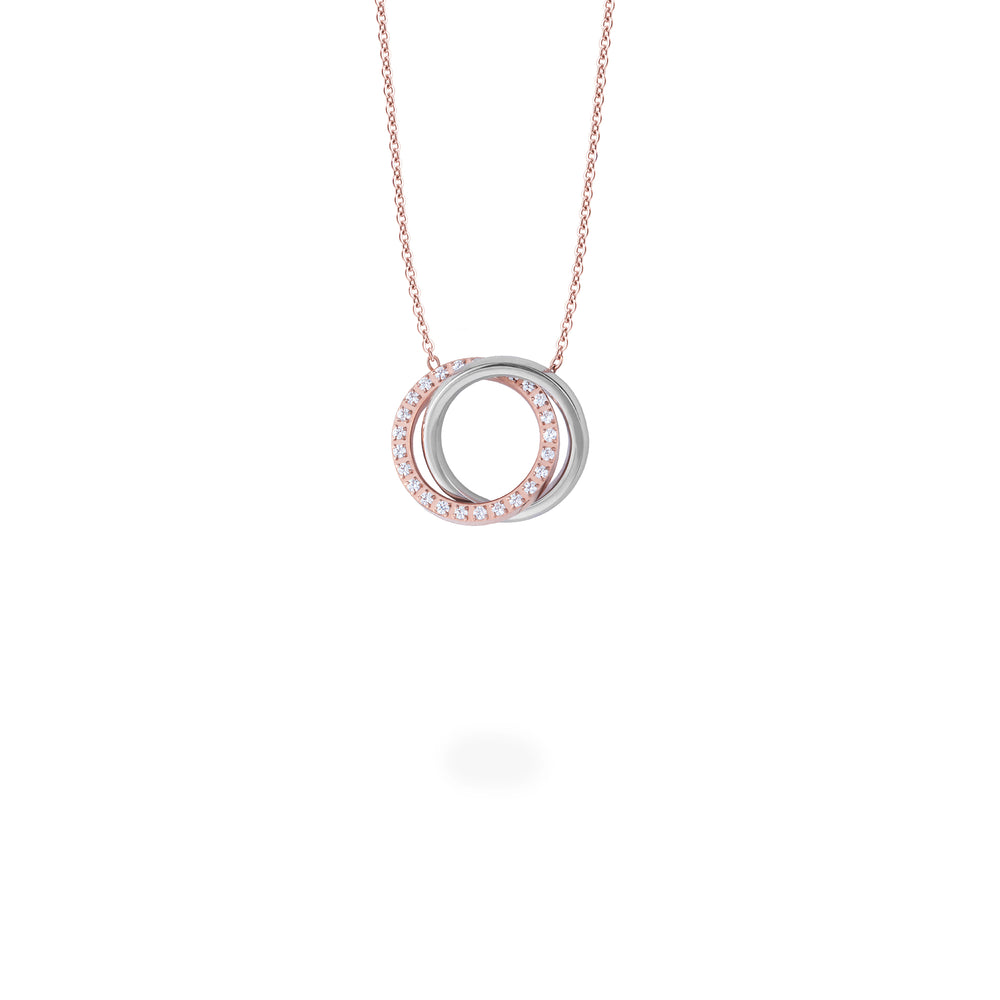 stainless steel rose gold double circle pendant necklace with stones T119P001DORO MIA Jewelry