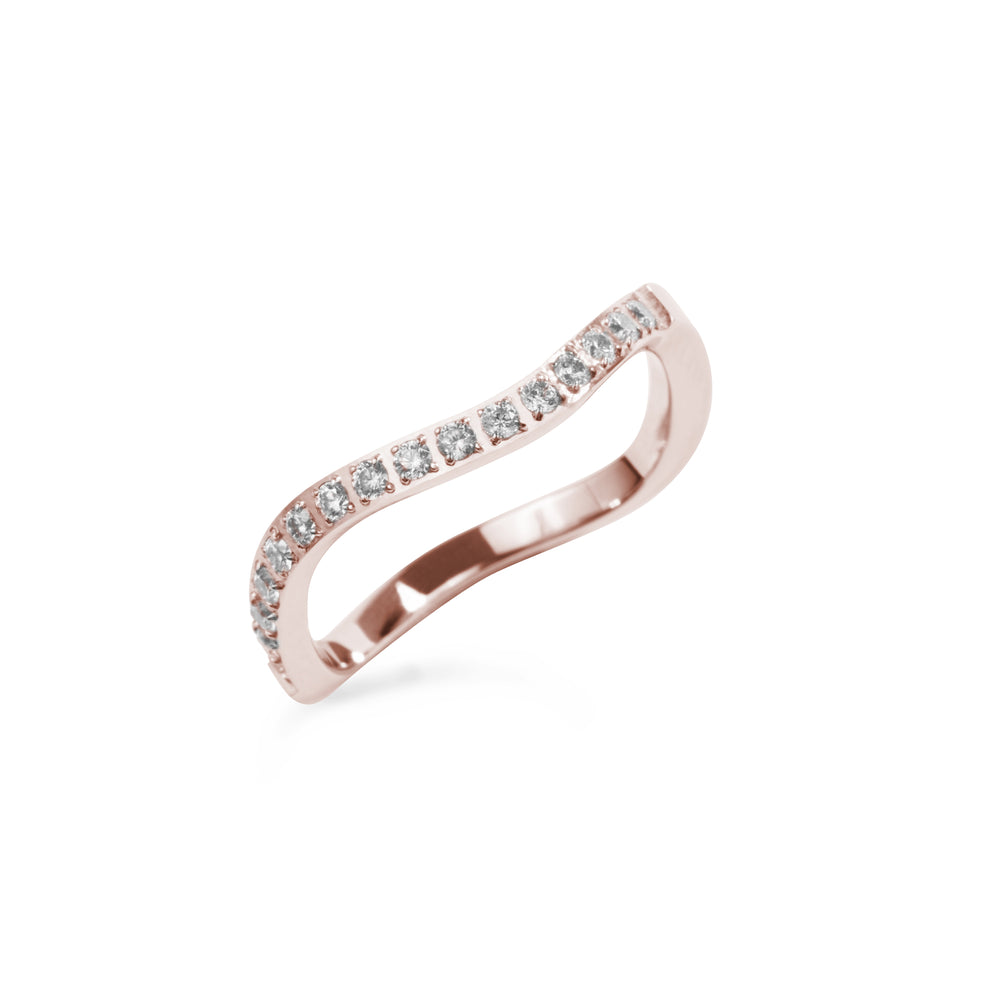 rose gold stainless steel thin ring wave stones T119R002DORO MIA JEWELLERY