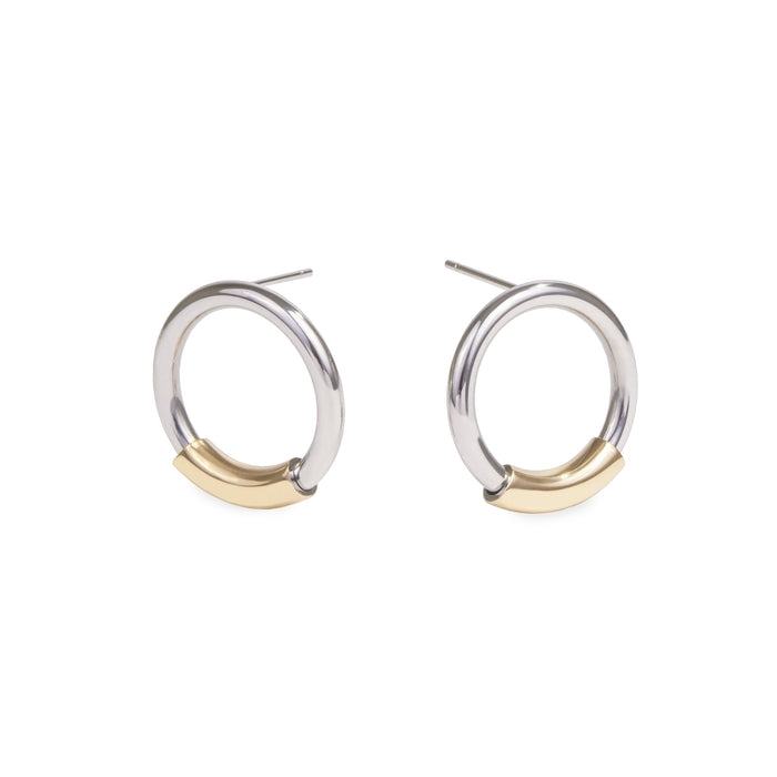 circle stud earrings stainless steel boucles oreilles cercle acier inoxydable MIA T319E005