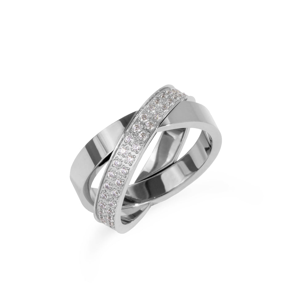chic crossed stainless steel ring women bague croisée chic acier inox femme MIA T319R002