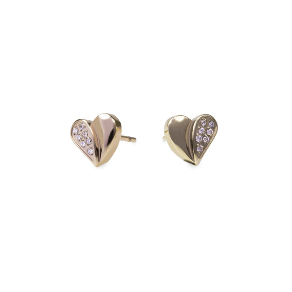 small hypoallergenic heart earrings with stones