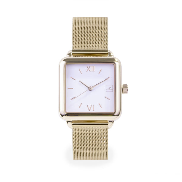 gold stainless steel square watch women W119M03DO MIA Jewelry