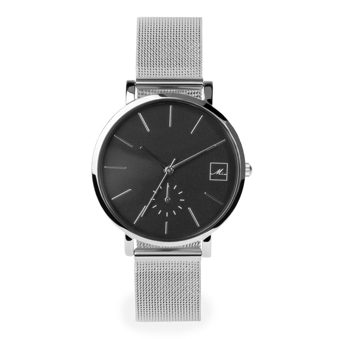 hypoallergenic silver and black dial watch for women
