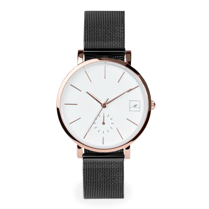 minimal black rosegold watch for women