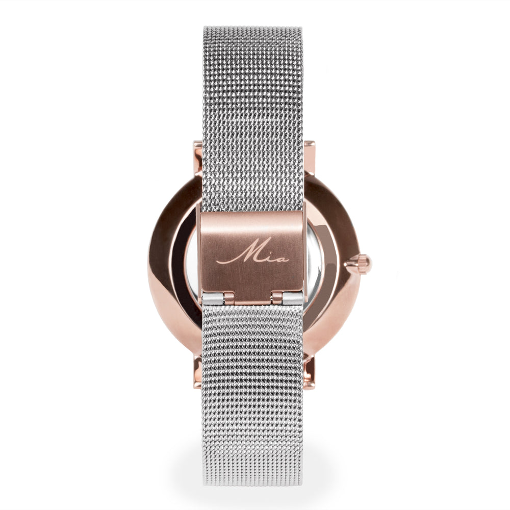 minimal silver black rosegold watch for women