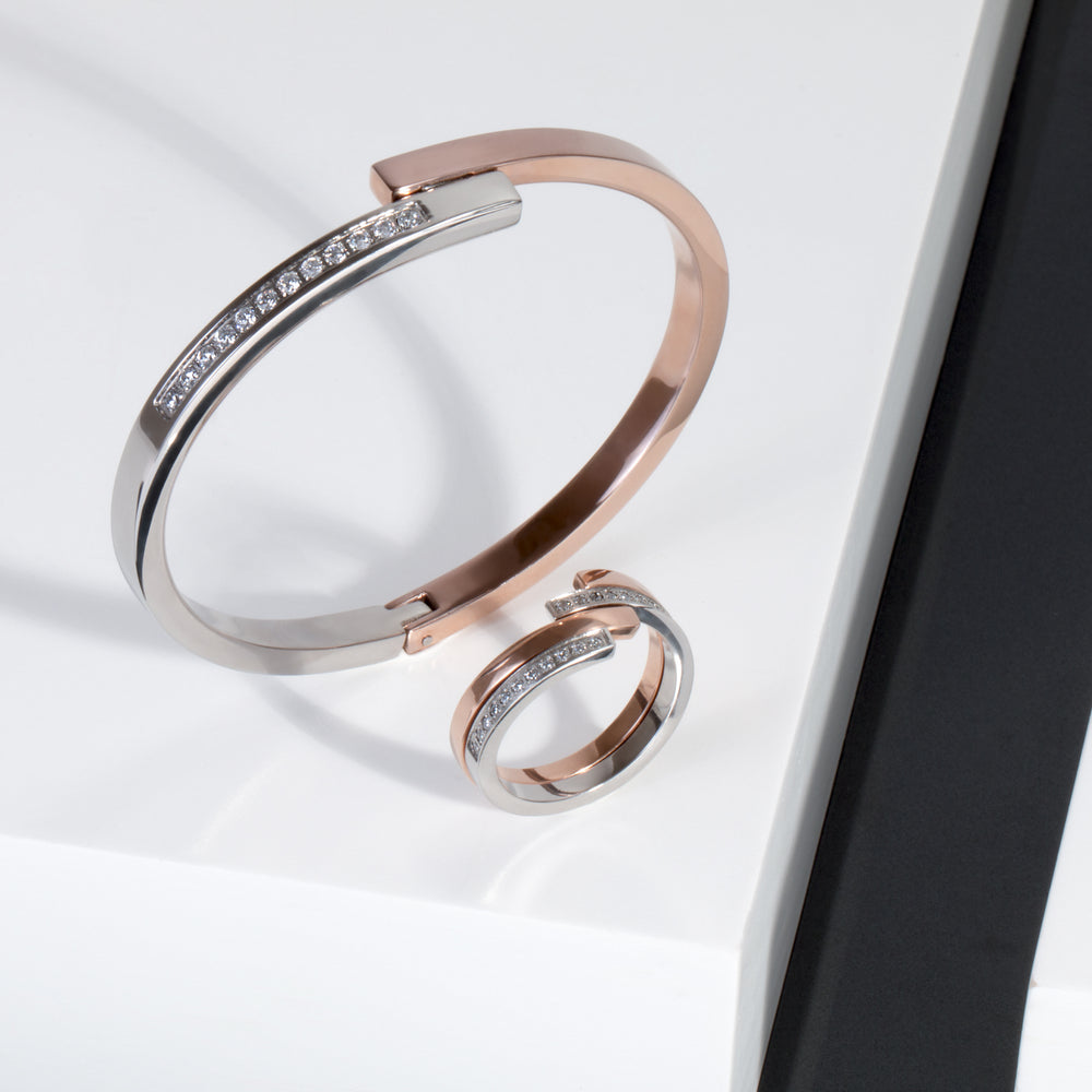 rose gold bracelet stones stainless steel