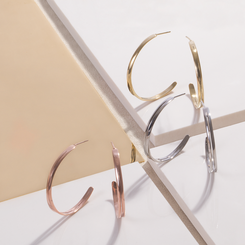 Large thin modern hoop earrings rose gold stainless steel