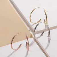 large thin modern hoop earrings  gold stainless steel