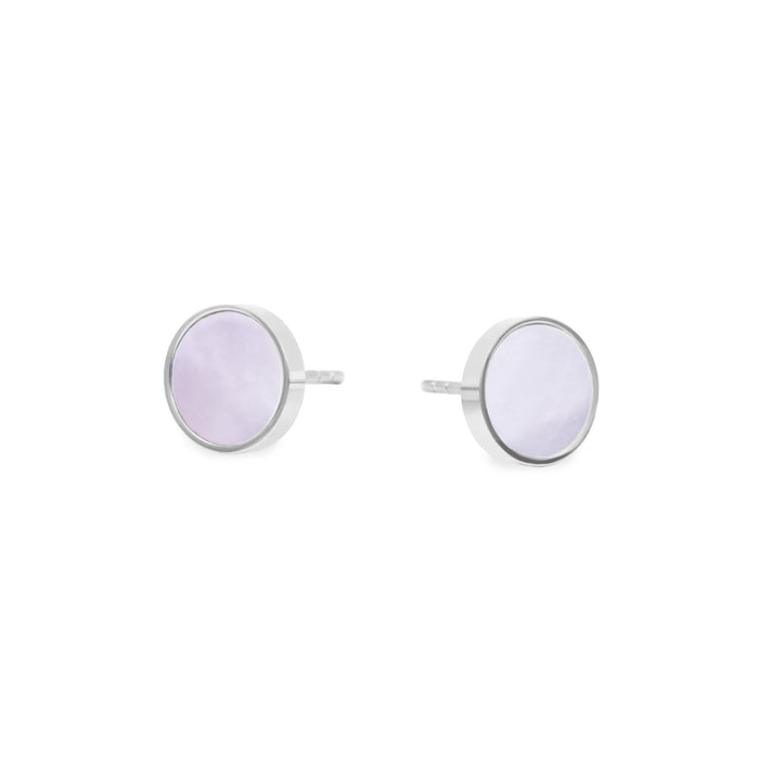 mother of pearl round stud earrings hypoallergenic