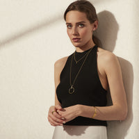 minimal circle long necklace hypoallergenic