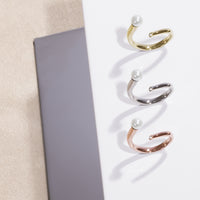 minimal pearl stone ring rose gold stainless steel