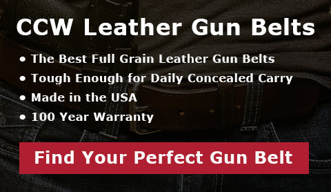 CCW Leather Gun Belts. The best full grain leather belts. Tough enough for daily concealed carry. Made in the USA. 100 Year Warranty. Find your perfect gun belt