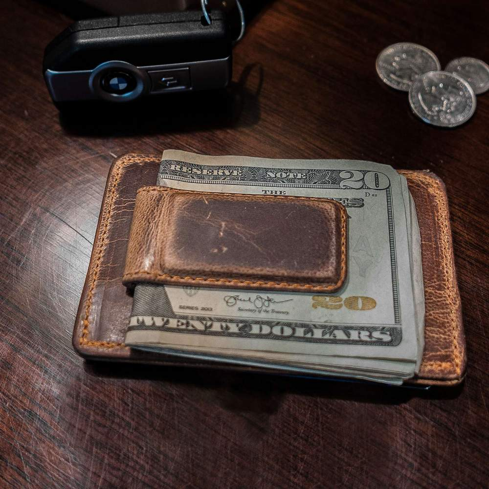 Hanks Wallet Money Clip is made from Premium Goatskin for a light yet durable money clip -  Vintage Brown