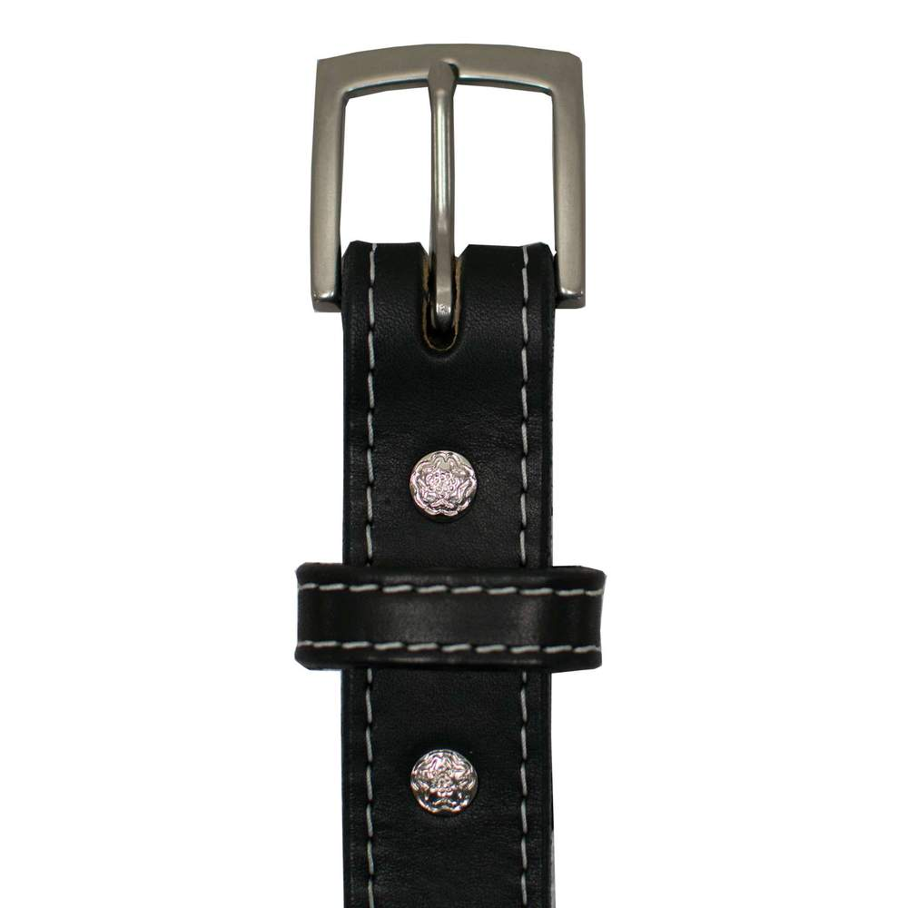 Antique Nickel Buckle and Floral Screw Details On Bonnie - Women's Bonnie CCW Gun Belt - Black White Stitching