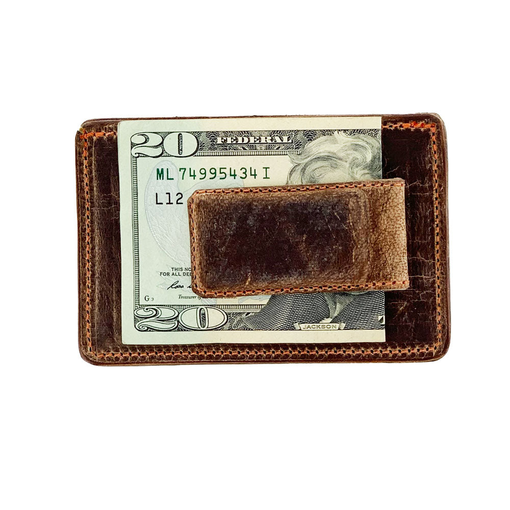 Leather Money Clip Wallet with Card Case