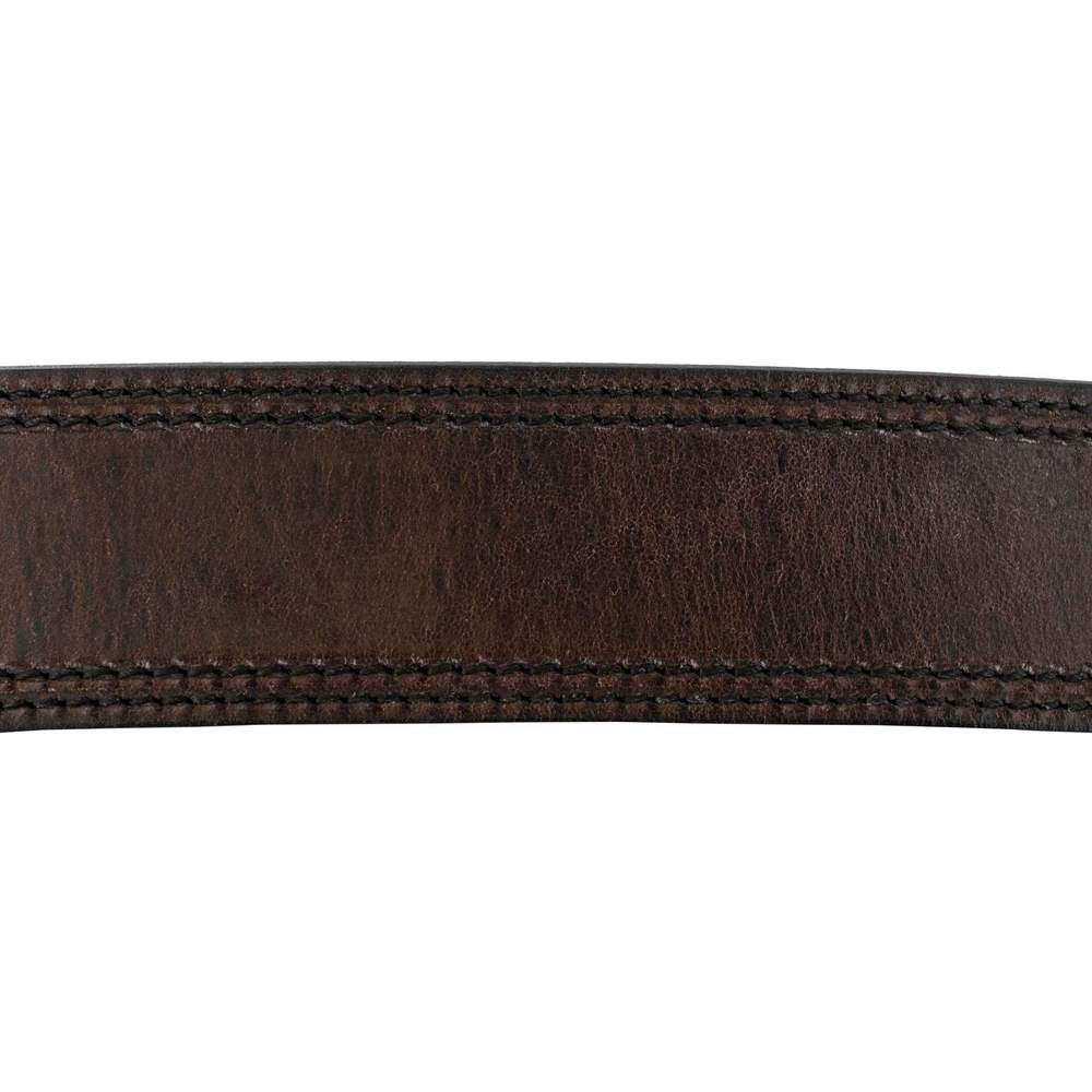 Hanks Old World Harness Belt Stitched With Edge Dye Rich Brown Hanks USA Made CCW Gun Belts