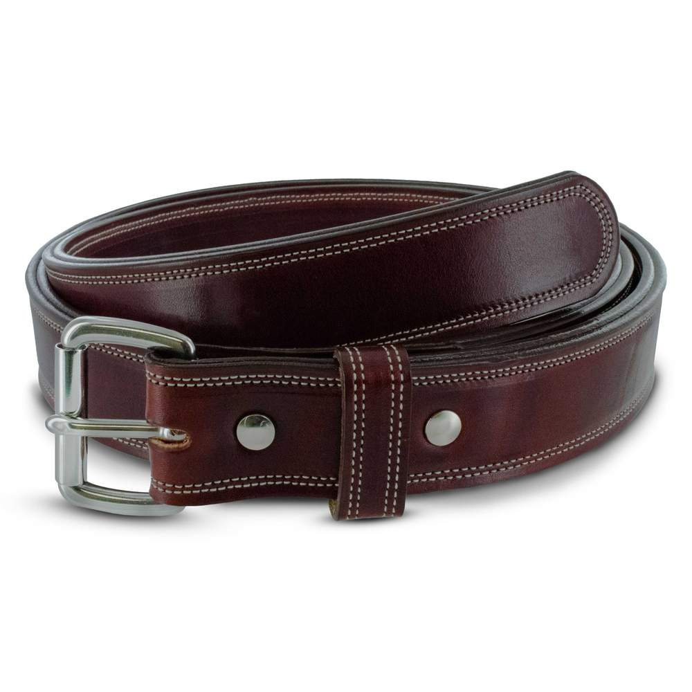 Hanks Premium Double Leather Belt - Hanks USA Made CCW Gun Belts In Cherrywood