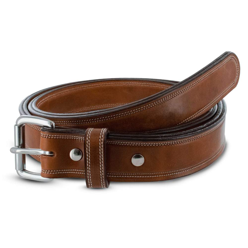 Hanks Premium Double Leather Belt - Hanks USA Made CCW Gun Belts In Rich Oak