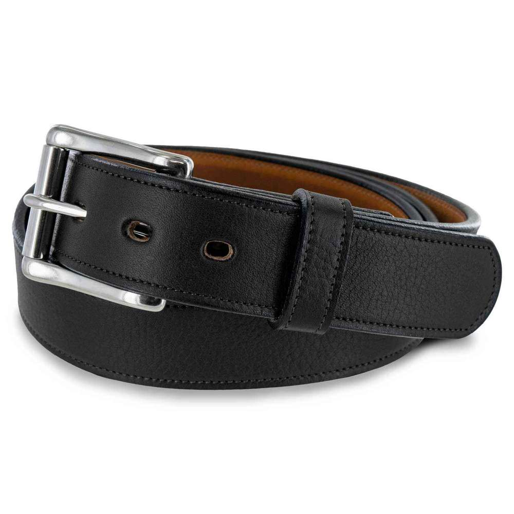 "Black Leather Padded Casual Belt 1.5/"" Made in the USA Big Sizes"