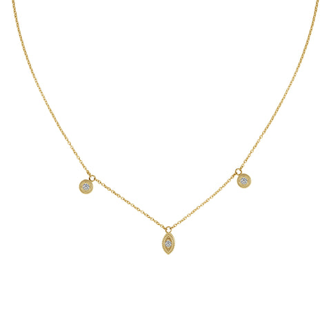 LA RIOJA ROSE CUT DIAMOND MEDALLION NECKLACE