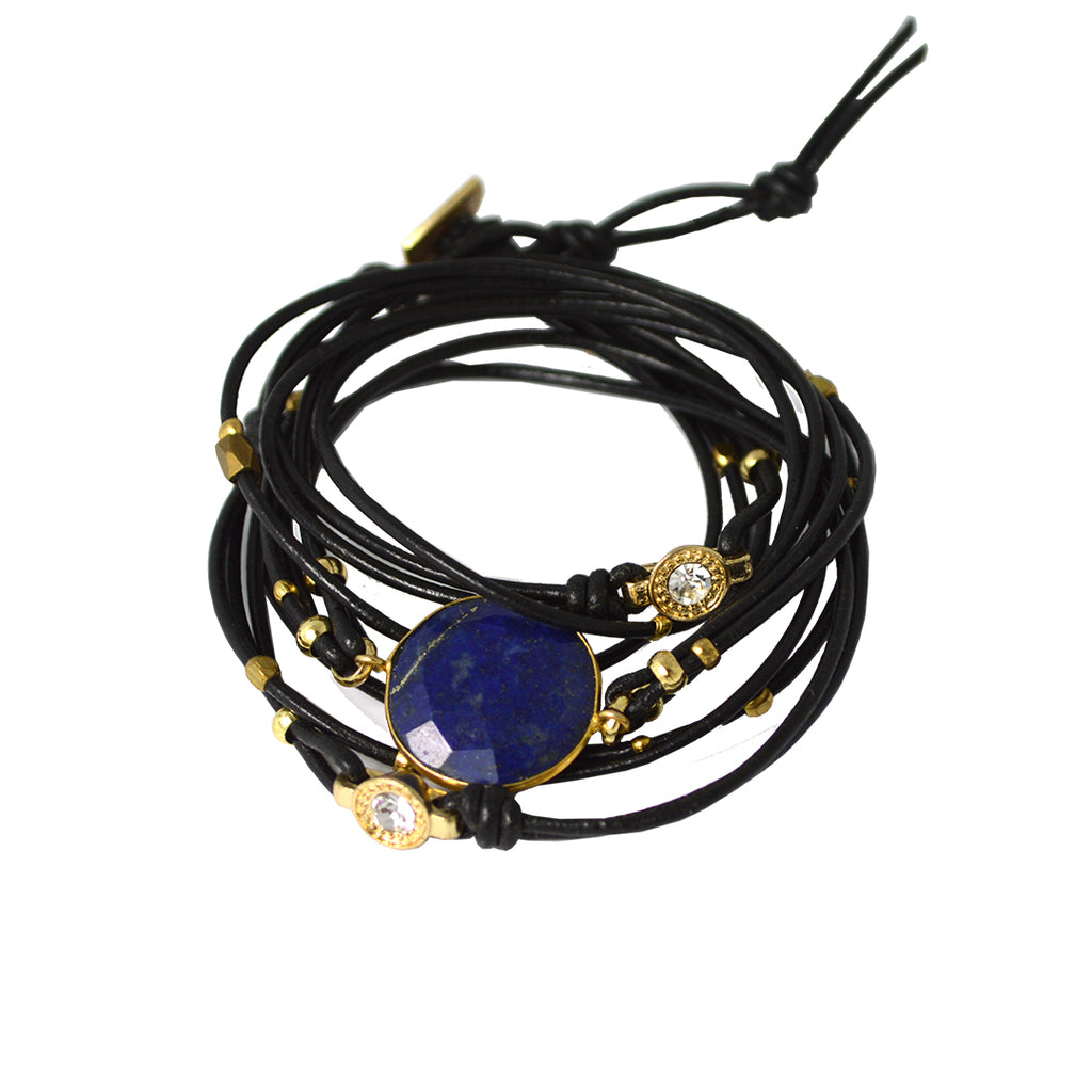Lapis Leather Wrap Bracelet