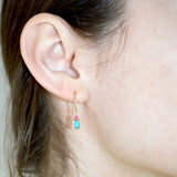 Dulce Earrings - Turquoise and Pink Tourmaline Set in 14k Gold