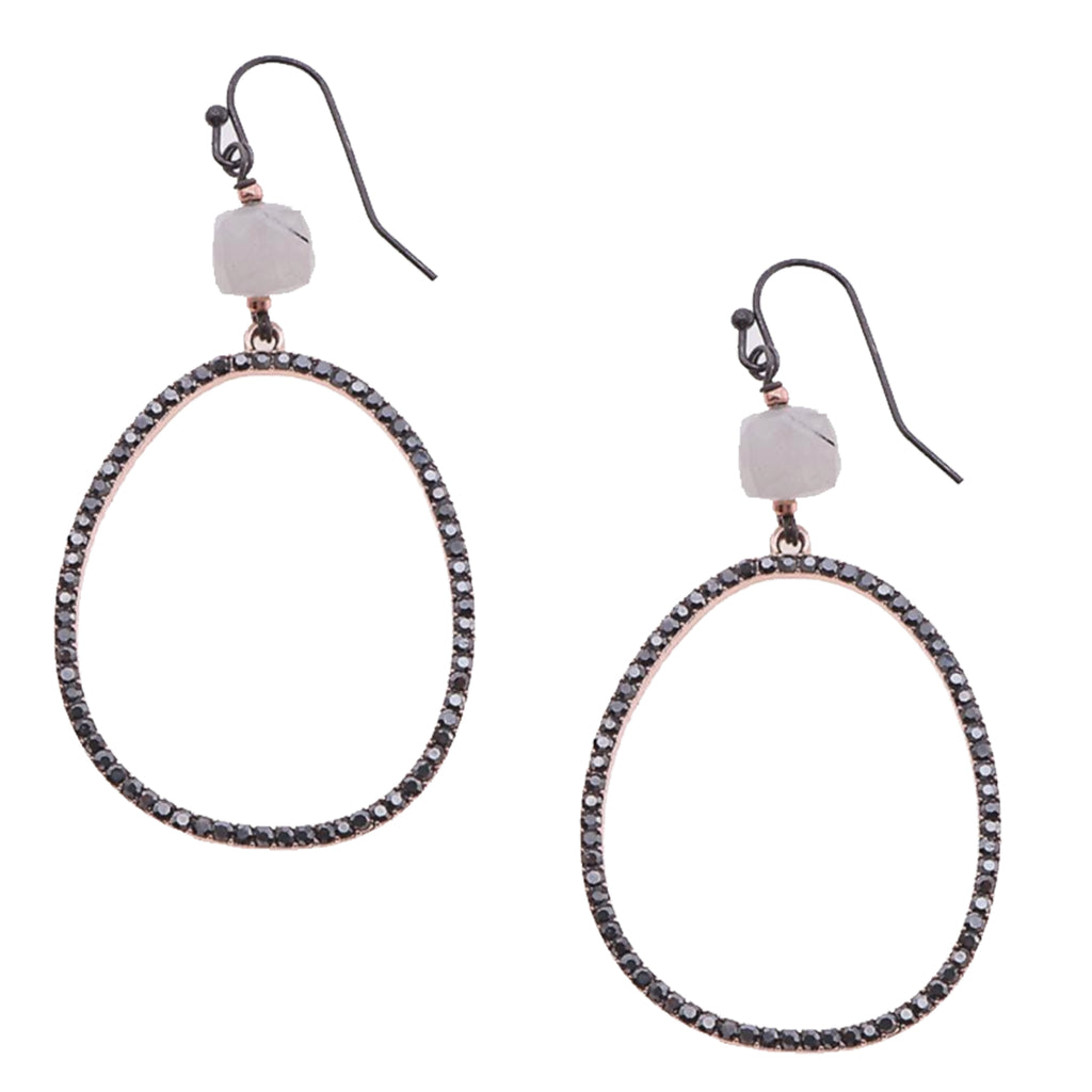 ALMOST OVAL BLACK CRYSTAL EARRINGS