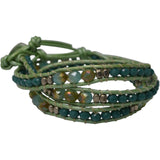 GREEN LEATHER AND CRYSTAL WRAP BRACELET