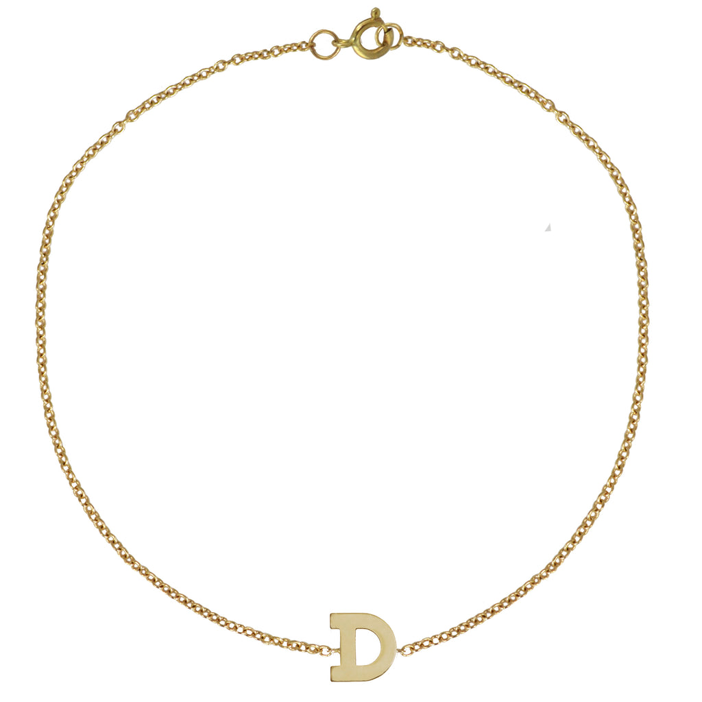 Gold Initial Bracelet by Sweet Bling - One Initials