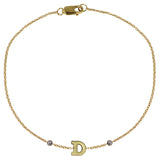 GOLD INITIAL BRACELET WITH DIAMONDS