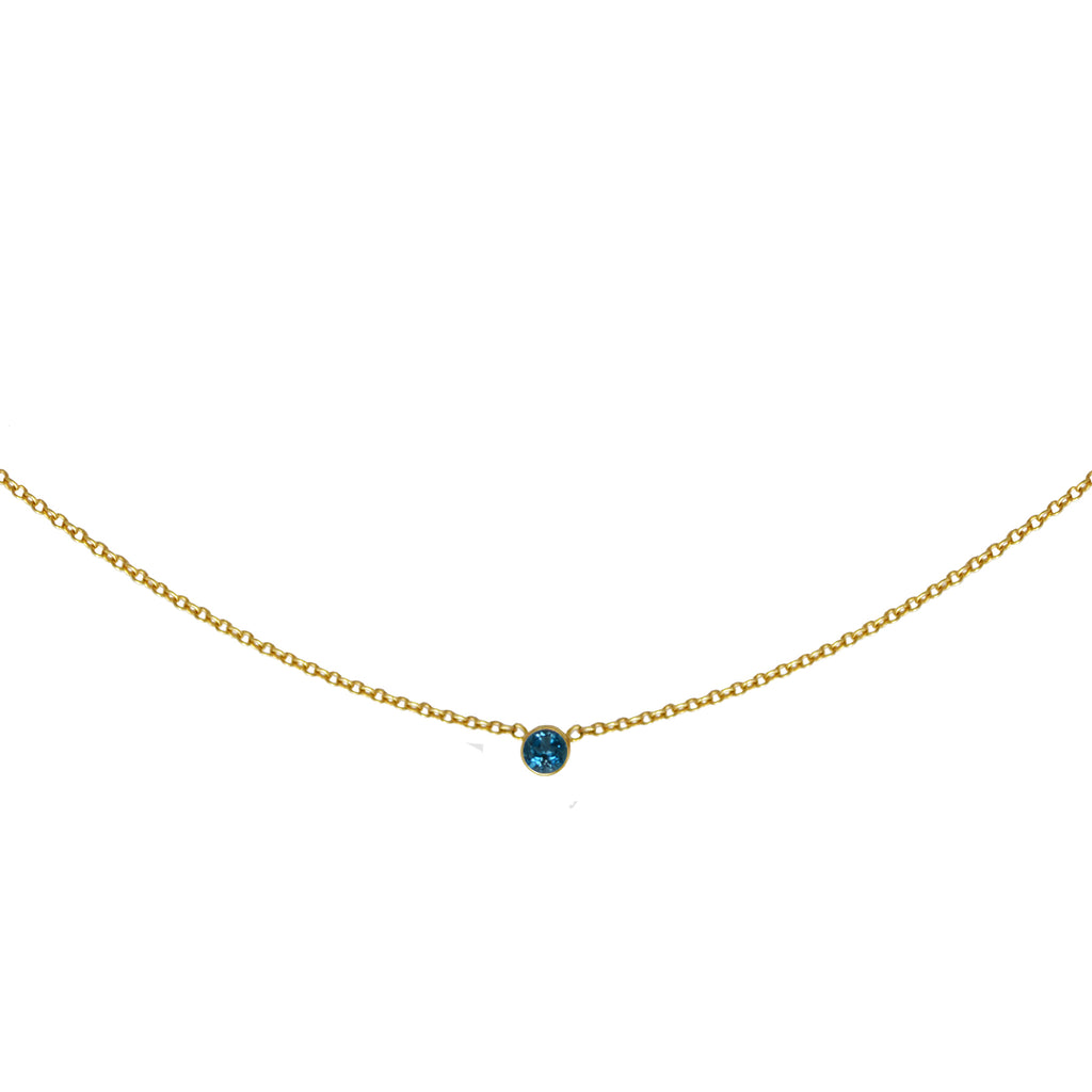 Sweet Bling London Blue Topaz Solitaire Necklace