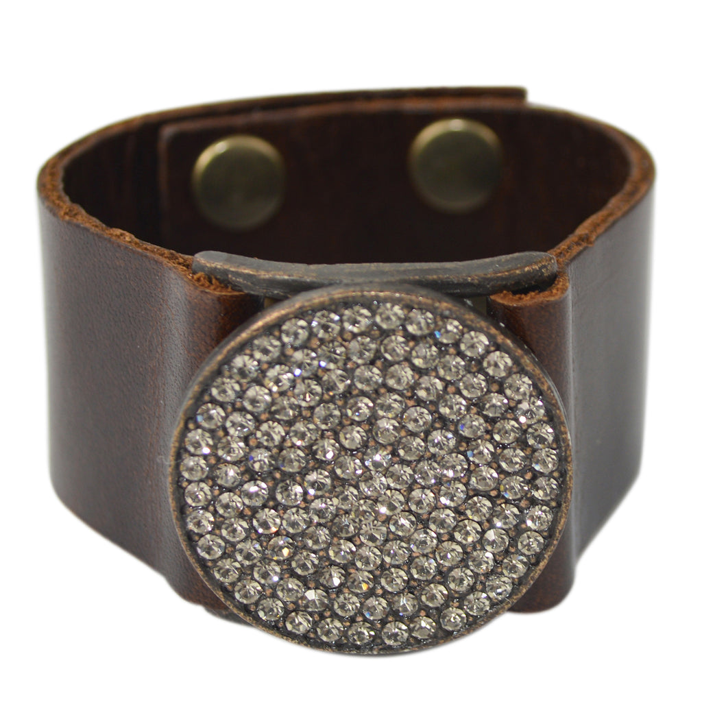VINTAGE LEATHER CUFF WITH ROUND CRYSTAL DISK
