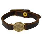 LEATHER BRACELET WITH SMALL CRYSTAL DISK
