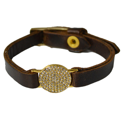 GOLD LEATHER BRACELET WITH CRYSTAL