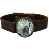 BROWN LEATHER BRACELET WITH CRYSTAL